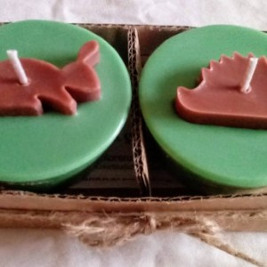 Two 3.5 oz handmade woodland creature soy wax candles