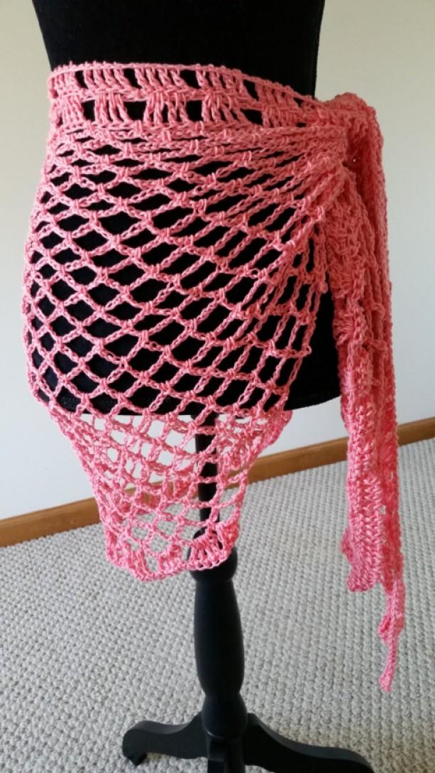 Sarong Wrap - Pareo, Beach Coverup, Crochet Pareo, Sarong, Handmade Shawl, Island Wear, Beach skirt, Bikini Coverup, Scarf, For Her
