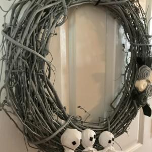 Gray Ghost Wreath with Felt Flowers - Halloween Wreath