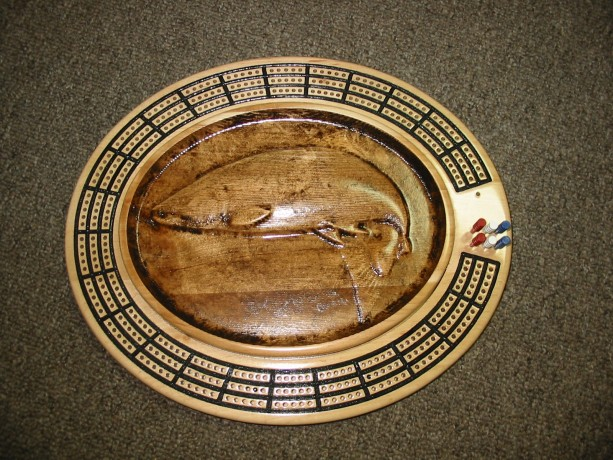 Salmon 3 track oval cribbage board with storage