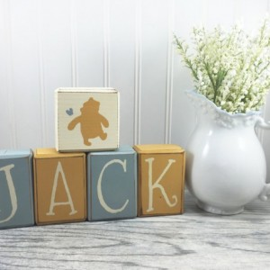 Custom name blocks classic Winnie the Pooh personalized disney pooh piglet eyore tigger baby nursery centerpiece baby shower gift unique