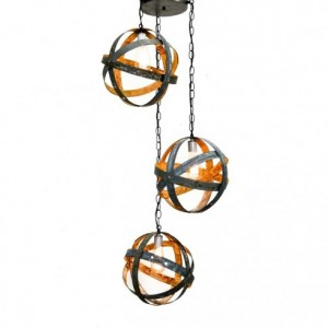 ATOM Collection - Apex -  Triple Globe Barrel Ring Chandelier / made from salvaged Napa wine barrel rings - 100% Recycled!