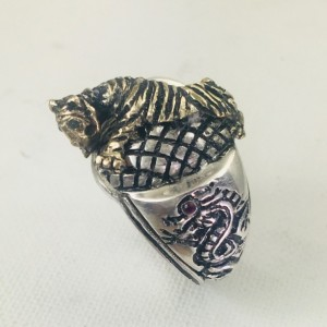 Artisan Made 10k Gold Crouching Tiger Hidden Dragon sterling silver ring