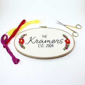 Floral Last Name Custom Embroidery Hoop Art