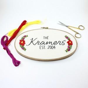 Floral Last Name Custom Embroidery Hoop Art