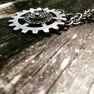 Steampunk Large Industrial Machinery Ooak Filigree Lace Silver Gear Necklace