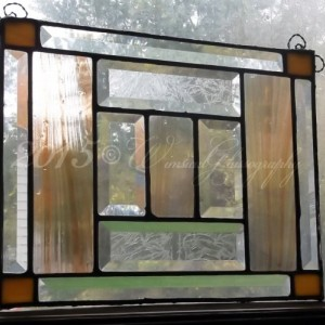 Antiqued Copper  Brown Streaky Golden Honey Clear Glue Chipped Beveled Stained Glass Panel