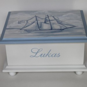 Baby Keepsake Box Memory Box watercolor clipper ship sailing baby gift