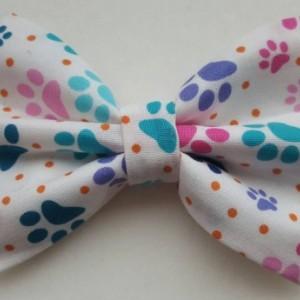Multi color paw print pet bow tie