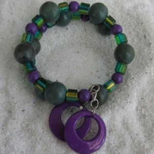 Beaded Bracelet Purple and Turquoise