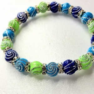 Multi-color Silver Spiral Beaded Bracelet