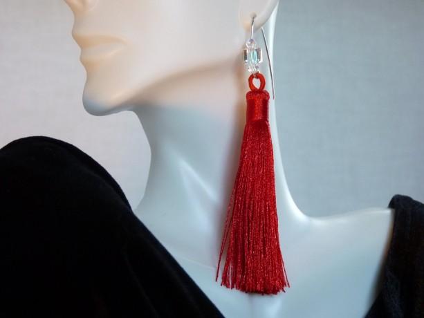 Red Tassel Swarovski Earrings
