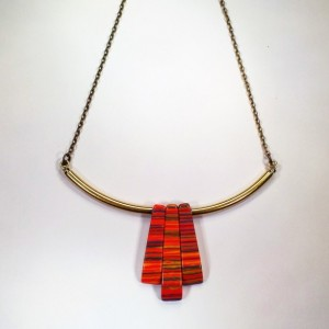 "Art Deco Choker Necklace with Brass Chain - Orange Vintage Beads - Adjustable Length 15""-18"" - Retro Multicolored Pendant"