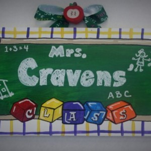 Teacher Signs -- Hand painted wooden signs depicting teacher's favorite things