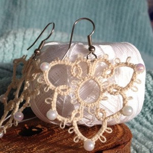Cream Tatted Earrings Pattern 1 with White Beads