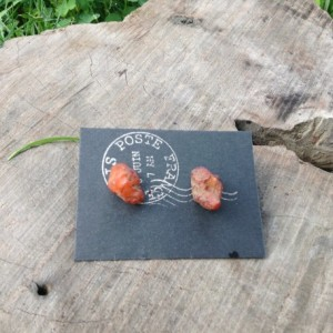 Carnelian Nugget Earring Studs, Found in the Pacific Northwest, Natural Stone Earrings