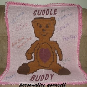 Teddy bear knitted blanket