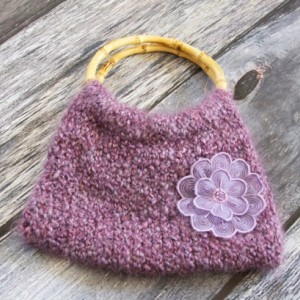 Purple Knit Handbag~Handbag~Purple Handbag