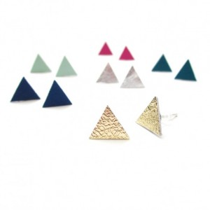 Leather Stud Earrings   Triangle Studs   Minimalist Studs   Nickel Free Earrings   Minimalist Earrings   Simple Studs   Bridesmaid Gift