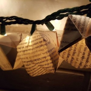 Set of 10 Upcycled Book Page Origami Paper Lanterns