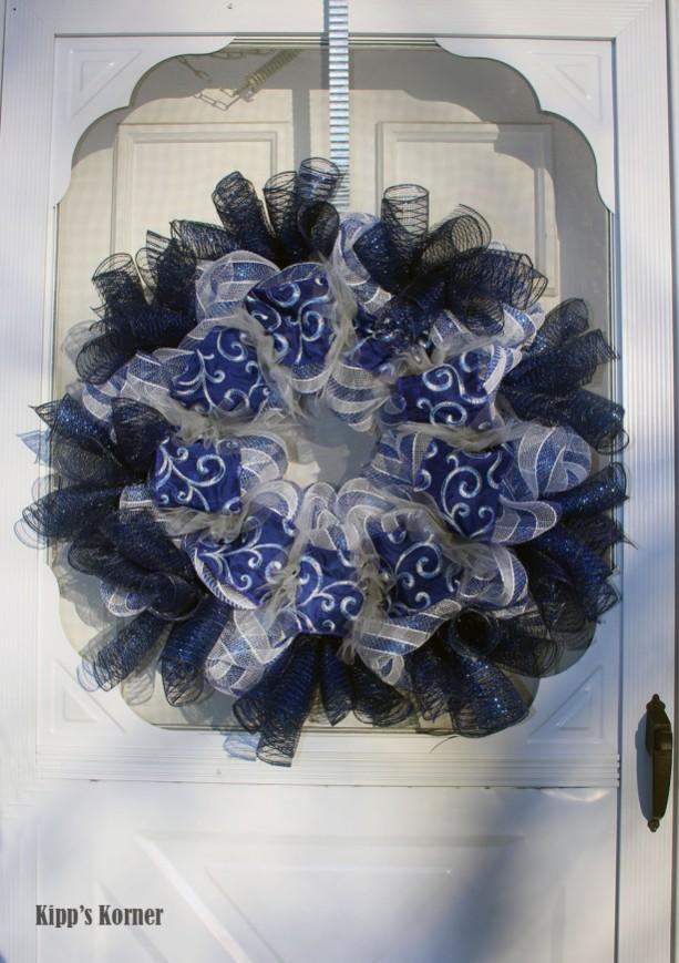 Blue Embroidered Ribbon Deco Mesh Wreath Door Decor Aftcra