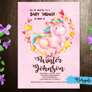 Watercolor UnicornBaby Shower Printable Invitation