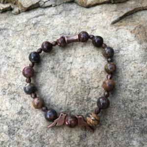 Love bird bracelet in leopard jasper and copper