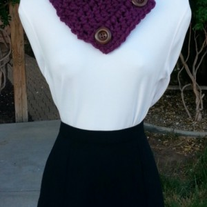 Dark Solid Purple NECK WARMER SCARF Buttoned Cowl, Large Brown Wood Buttons, Extra Soft 100% Acrylic Handmade Crochet Knit..Ready to Ship in 2 Days