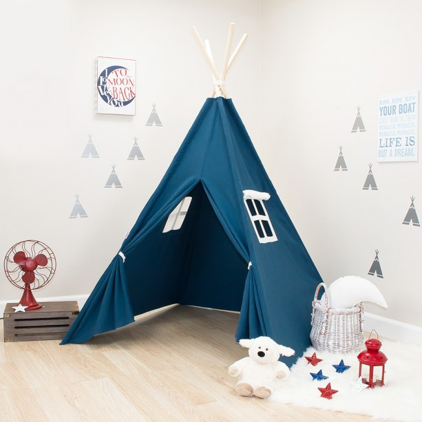 Solid Navy Blue Kids Teepee