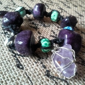 Amethyst Micro Macrame Hemp Bracelet with Clay Beads