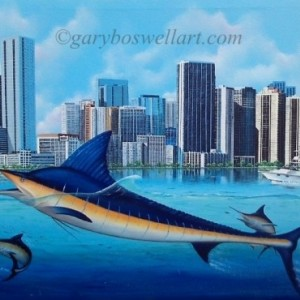 Miami Marlins original large gallery wrapped canvas marine life art wall decor