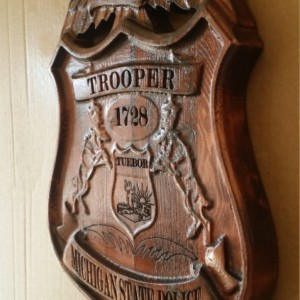 3D V CARVED - Personalized Michigan State Trooper Police Badge V Carved Wood Sign