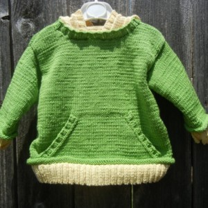 Hand Knitted Merino Wool Sweater, Knit Hoodie for Toddler 12 to 18 Months, Green Knit Sweater, Merino Wool Hoodie,Hand Knitted Ready to Ship