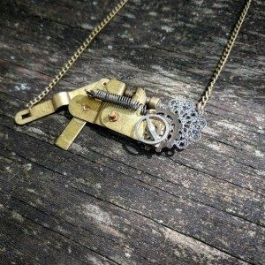 Unique Industrial Neo-Victorian Repurposed Handmade Ooak Machinery Filigree Lace Riveted Brass Plate Kinetic Necklace