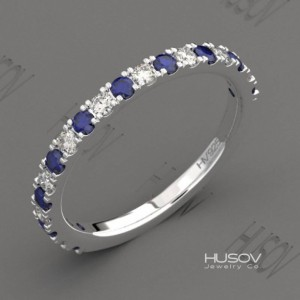 Blue Sapphire Ring Half Eternity Band September Birthstone 925 Sterling Silver Ring Gemstone Stackable Ring Wedding Band Womens Gift For Her