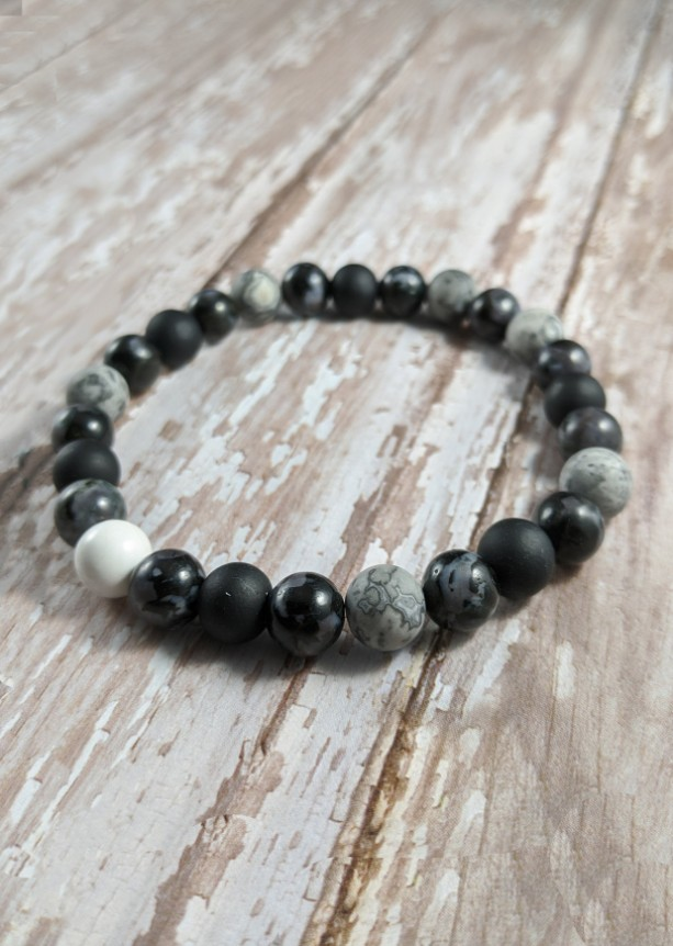 The William | handmade beaded stretch bracelet, howlite, map jasper, indigo gabbro/mystic merlinite, glass bead, men's/unisex, Gifts for Him