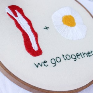Bacon and Eggs Embroidery Hoop Art