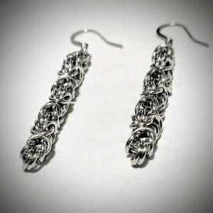 Silver Dangle ear wire earrings byzantine chainmaille