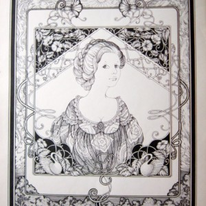 Pen & Ink Drawing of an elegant lady