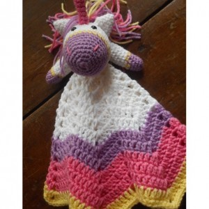 Pretty Pastel Crocheted Unicorn Baby Lovey
