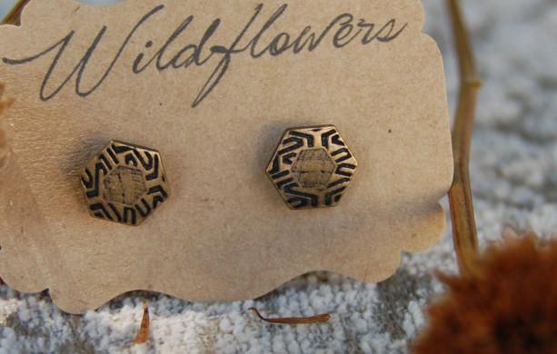 Hexagonal Geometric Patterned Button Stud Earrings