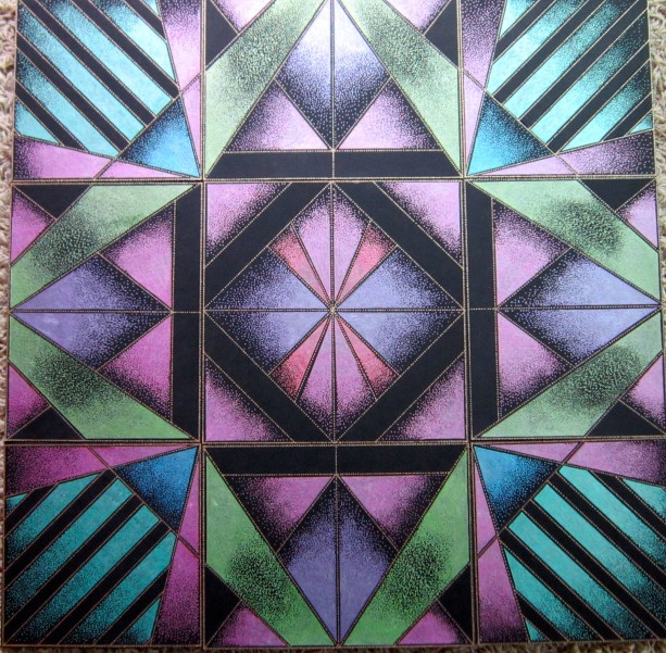 Geometric Drawing in Metallic Acrylic paints