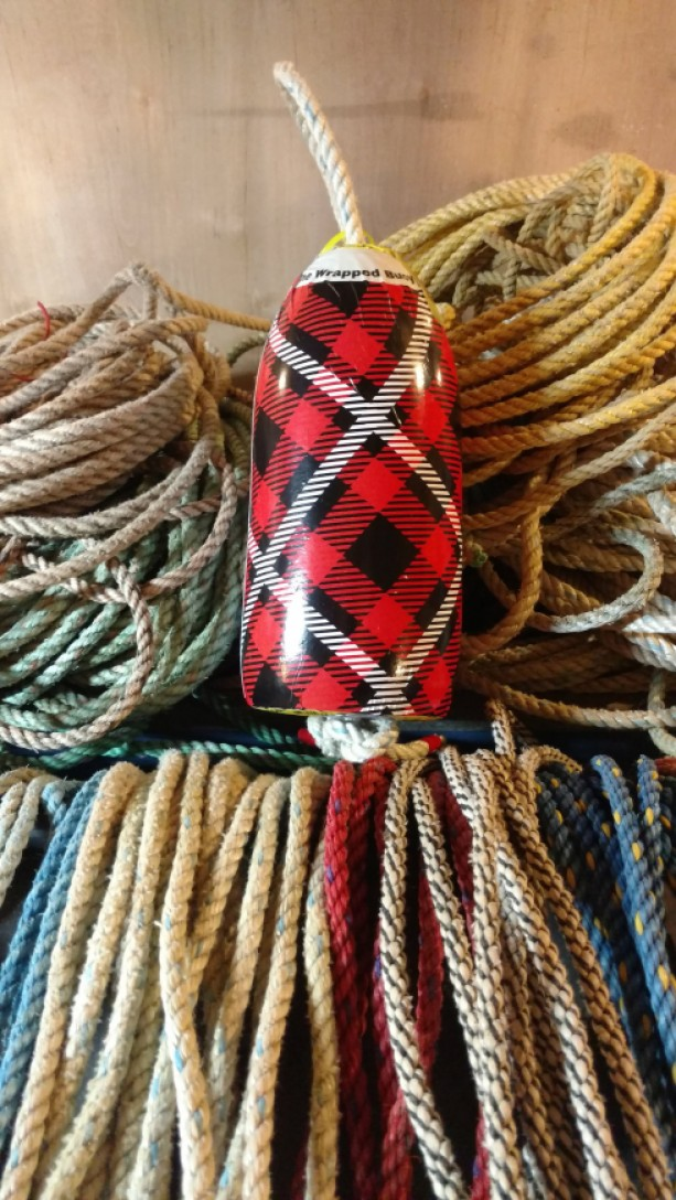 Red plaid! A real Maine lobster buoy
