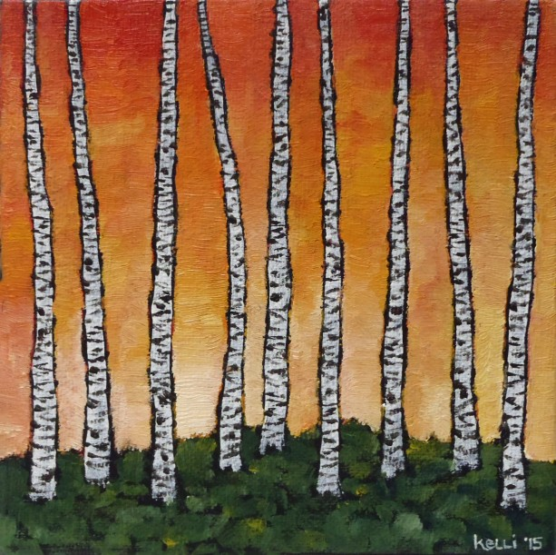 """Birch Series-Orange 2"" original oil painting"