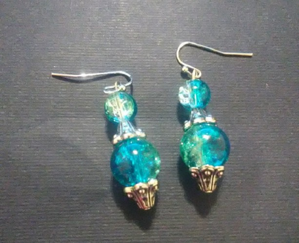 Blue Sparkle and Silver Earrings