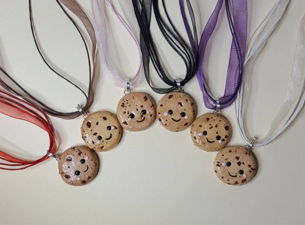 Polymer Clay Kawaii Chocolate Chip Cookie Necklace, Miniature Food, Fake food