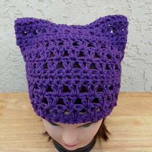 Dark Purple Pussy Cat Hat, Summer PussyHat, 100% Cotton Lightweight Crochet Knit Solid Purple Thin Spring Beanie, Ready to Ship in 2 Days