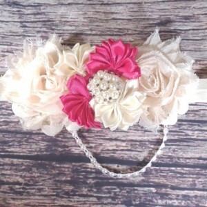 Vintage Inspired Cream and Dark Pink Headband.