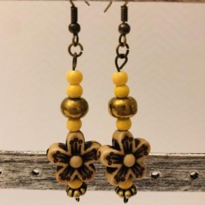 Wood Bead Flower Earrings