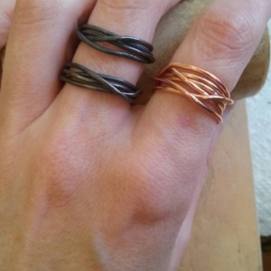 Wrapped copper wire wide ring
